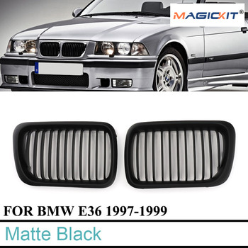 MagicKit Front Matte Black Kidney Grille Grill for BMW 3-Series E36 Saloon M3 Coupe 97-99 image