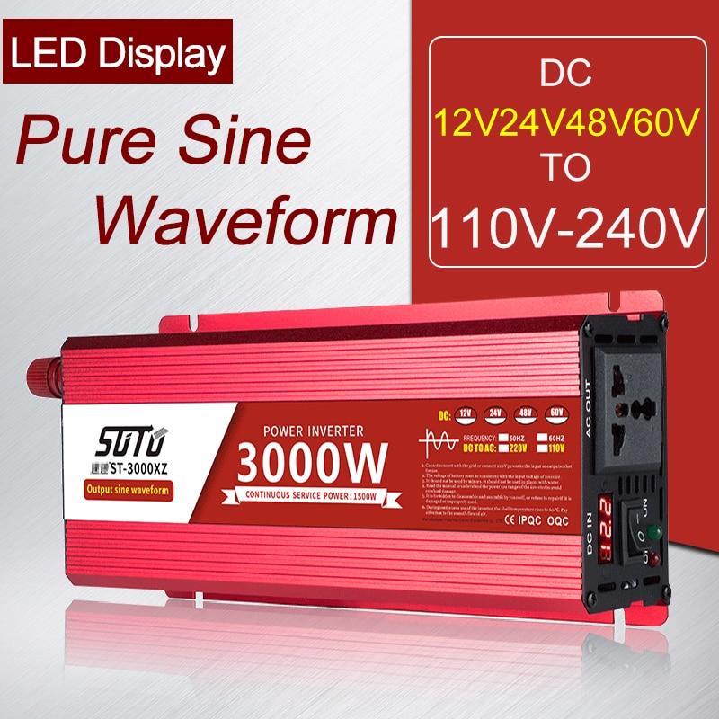 Универсальный инвертор постоянного тока в 12V24V48V60V до 110V-240V ЖК-дисплей Экран 1600 Вт Инвертор с зарядным устройством/2200W/3000 Вт чистое синусоидал...