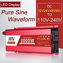 Inversor universal dc 12v24v48v60v a 110v-240v inversor de tela lcd 1600w/2200w/3000w conversor de potência de forma de onda de seno puro 50/60hz