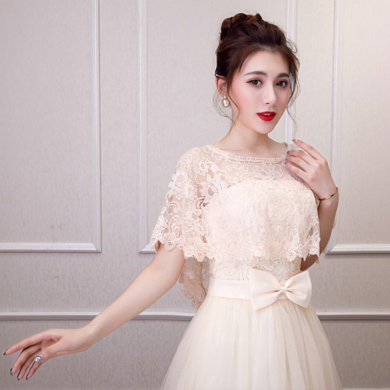 Womens Vintage Full Floral Lace Cape Wrap Round Neck Crochet Sheer Shawl Shrug Solid Color Summer High Low Bridal Capelet Bolero
