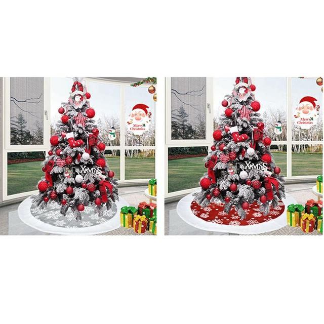 100CM Red/Gray Christmas Tree Skirt Carpet New Year Decorations Xmas Decoration Tree Skirt Ornaments Festive Party Supplies 2