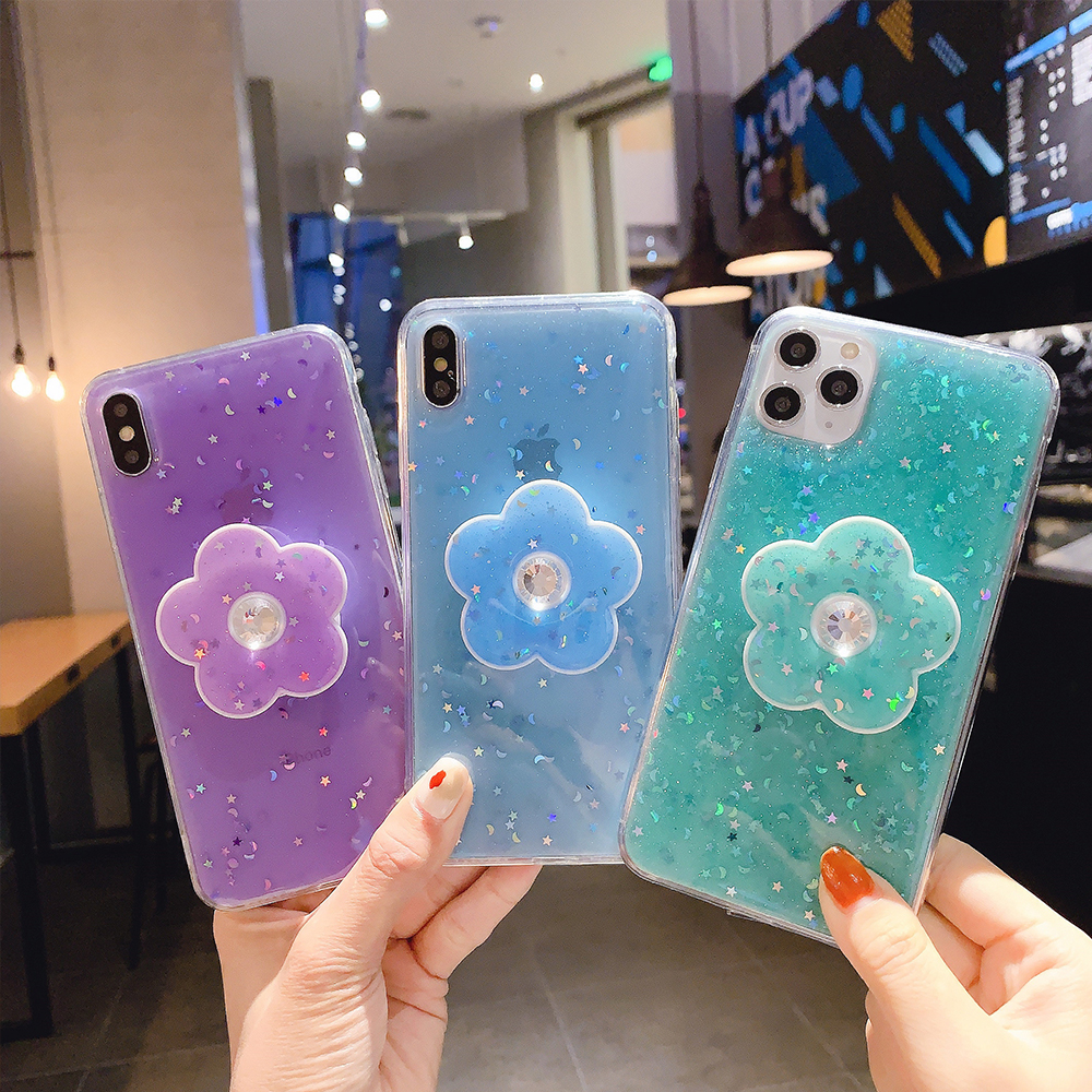 Bling Glitter Case For iPhone 11 Pro Max 11 Pro 11 XS XR X XS Max 6s 6 7 8 Plus Slim Case With Stand Holder Phone Cases Socket image