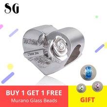 925 Sterling Silver I Love You Mum Heart Charms Beads Fit Authentic pandora Bracelet DIY jewelry Making for Women Gift цена в Москве и Питере