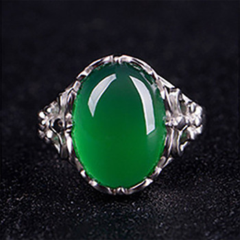 Cellacity Classic Fine Jewelry with Gemstones Silver 925 Ring for Women 15*12mm Green Chalcedony Opening adjustable Female Gift 1