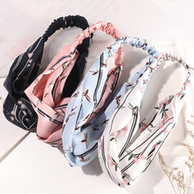 Boêmio estilo floral imprimir hairbands cruz atada elástico faixas de cabelo feminino reto headwrap bandagem acessórios de cabelo