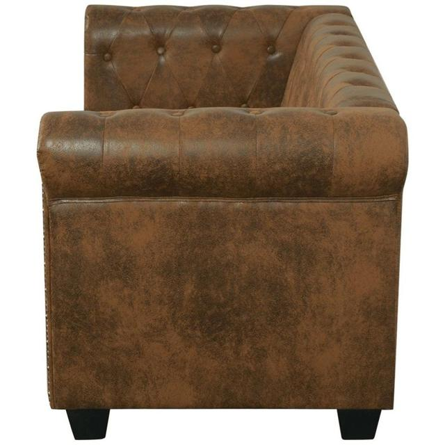 [ES Warehouse] Chesterfield 2 seater sofa in artificial brown leather Free Shipping Spain Drop Shipping 3