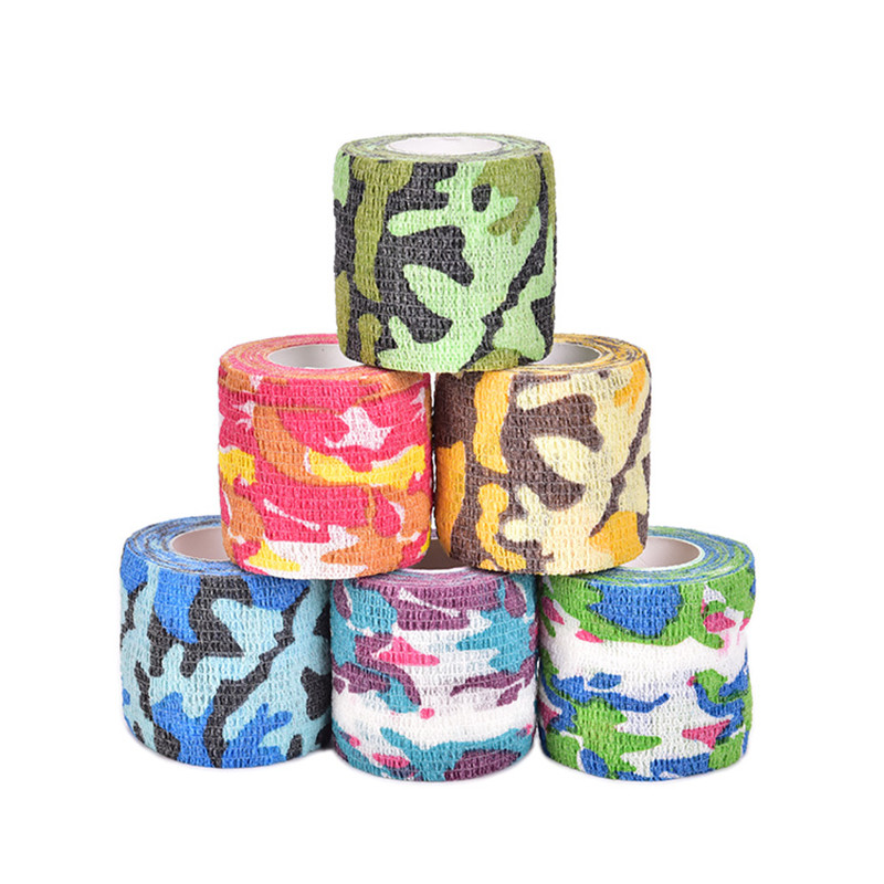 New 4.5m Outdoor Camo Printed Medical Self Adhesive Elastic Bandage Sports Wrap Tape for Finger Joint Knee First Aid Kit Safety