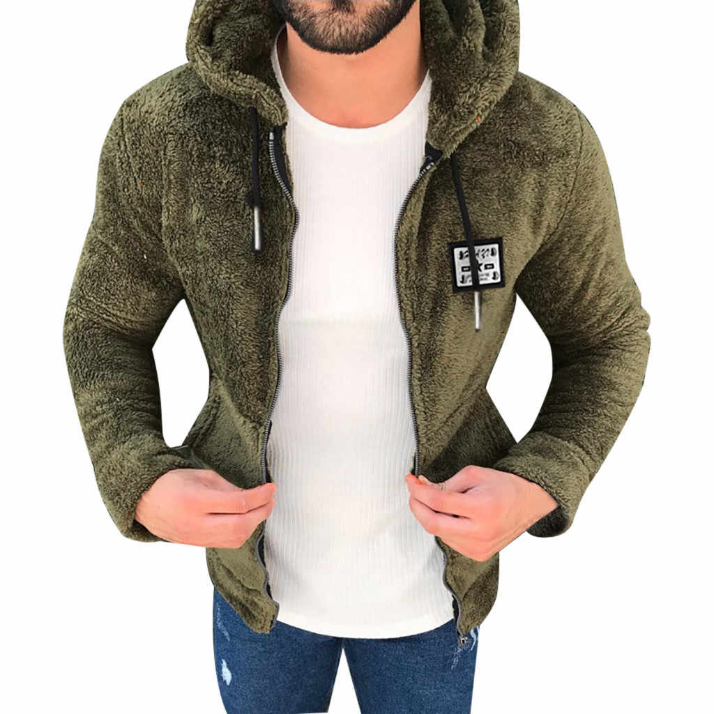 Mens Fashion Casual Verdikking Fleece Jas Teddy Jas Warm Dubbelzijdig Pluche Hooded Jassen Man Bomber Vest Jas