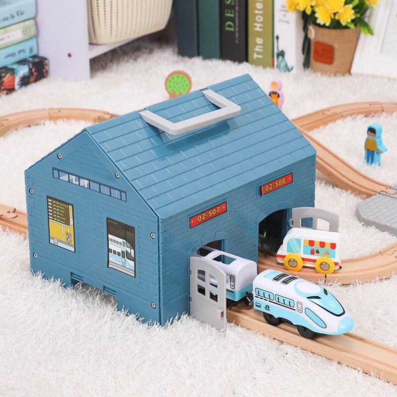 Children Small Train Track Scene Accessories House Compatible Wooden Small Train Track Toy Train Track Multi-purpose Storage Box