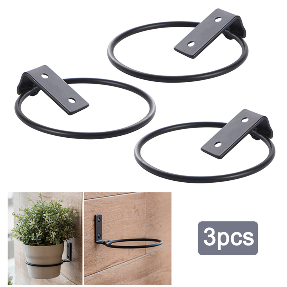 3pcs Durable Flower Pot Holder Ring Wall Mounted Planter Hook Iron Black Folding Support Metal Planter Hooks Wire Trellis Plant Cages Supports Aliexpress