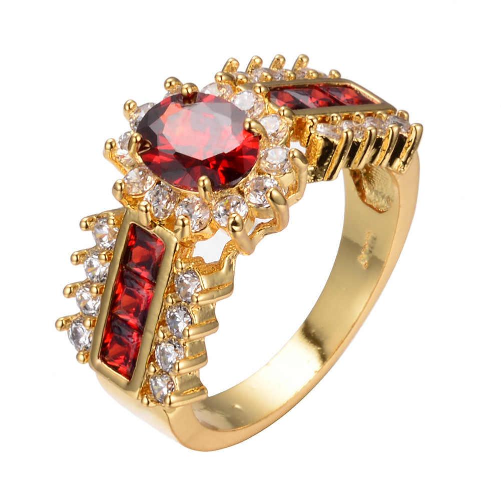 2 สีหรูหราสีฟ้า/สีแดงใหม่คลาสสิกหมั้นแหวน Zircon Luxury คนรักแหวนผู้หญิง sapphire แหวนทับทิมแหวนทอง