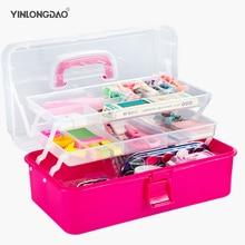 Пластиковая коробка для хранения 3 слоя портативный складной инструменты организатор многоцелевой ювелирные изделия бисер, с ручкой DIY