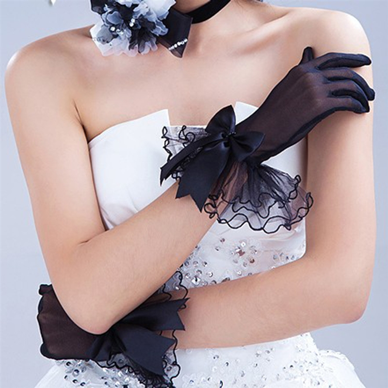 Women Lace Mesh Gloves Ladies White Wrist Gloves Large Bow Knot Marriage Glove Party Cosplay Accessories