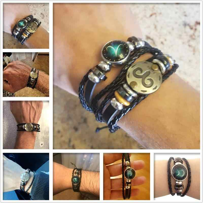 2pcs/set 12 Constellation Bracelets Luminous Leather Charm Bracelet Zodiac Horoscope Braided Bangle Men Women Jewelry Wrist Gift