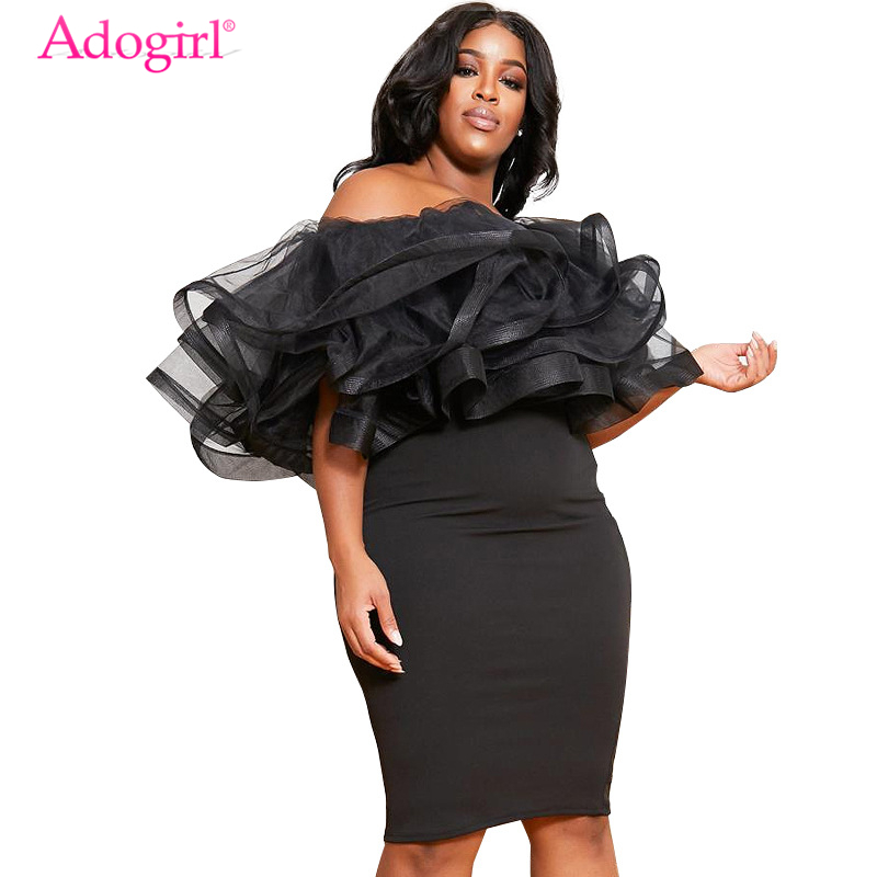 Adogirl Plus Size XL-5XL Women Party Dress Layered Mesh Ruffle Off Shoulder Bodycon Knee Length Club Dresses Female Clothes