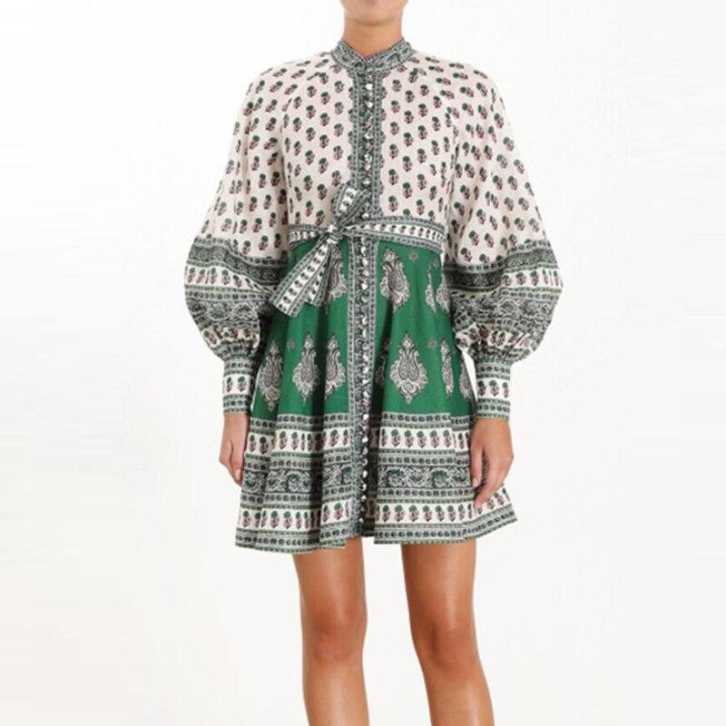 Europe mode coton et lin robe femmes 2019 nouveau automne dames robe tempérament à manches longues décontracté femmes vêtements