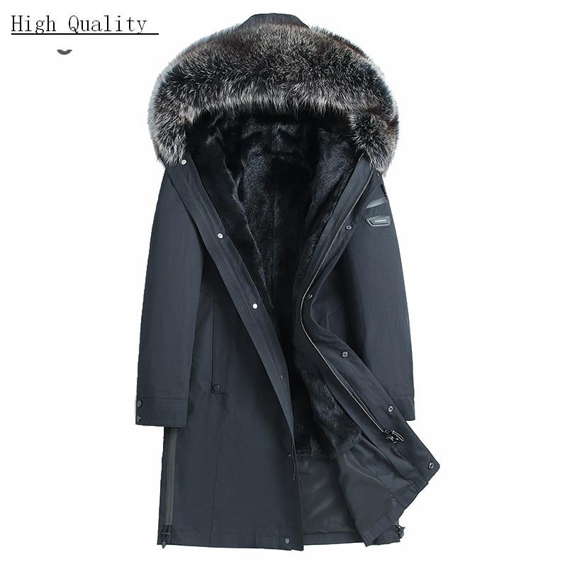 Real Mink Fur Shearing Liner Jacket Men Winter Natural Raccoon Fur Hooded Fur Coat Clothes 2020 Streetwear Jackets 195901