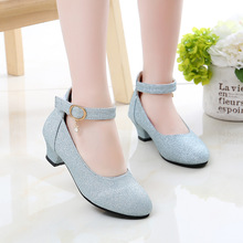 New Kids Shoes Girls Mary Jane Shoes Princess High Heels Seq