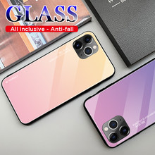 Phone Case On For Huawei P20 lite light P30 Pro P10 lait Gradient Tempered Glass Case on p smart mate 10 20 plus nova 3 3i case(China)