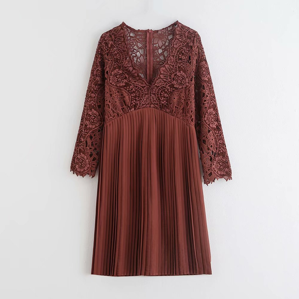 2019 women sexy v neck lace crochet patchwork pleated mini dress ladies three quarter sleeve casual slim party dresses DS2751
