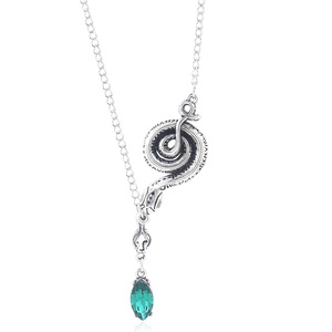 Snake Horcrux Necklace Fashion Metal Snake Shape Green Crystal Pendant Chain Charm Woman Cosplay Jewelry Accessories Fan Gife