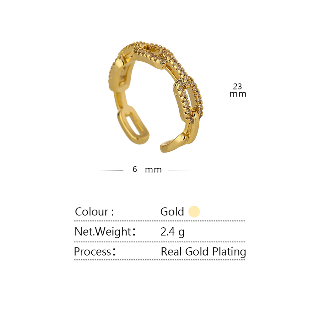 Yhpup New High Quality Chain Cubic Zirconia Ring for Women kpop Engagement ring Jewelry Bagues Pour Femme Anniversary Gift 2021 5