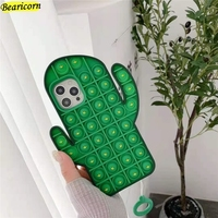 Pop-funda de silicona con diseño de Cactus para móvil, carcasa blanda de silicona con diseño de burbuja para iPhone 6, 6s, 7, 8 Plus, X, XR, XS, 11, 12 Pro Max SE