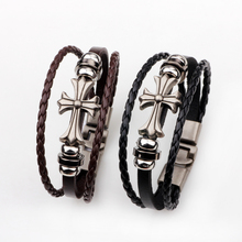 Stylish multi-layer leather bracelet for men Multi-layer   hand-braided rope adjustable bracelet jewelry A knitted bracelet with все цены