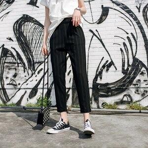 Image 3 - נשים מכנסיים פסים כיסי Loose דק קיץ קוריאני הרמון מכנסיים Harajuku נשים אלסטי מותניים מקרית חדש סגנון אופנה יומי
