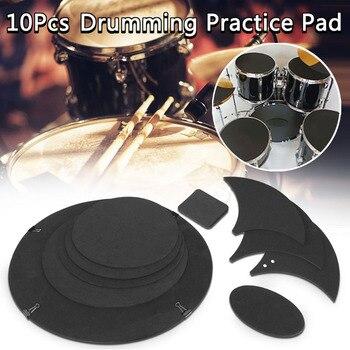 Almohadilla de práctica silenciador silencioso con sonido de tambor con bajo de goma de 10 Uds ALS88