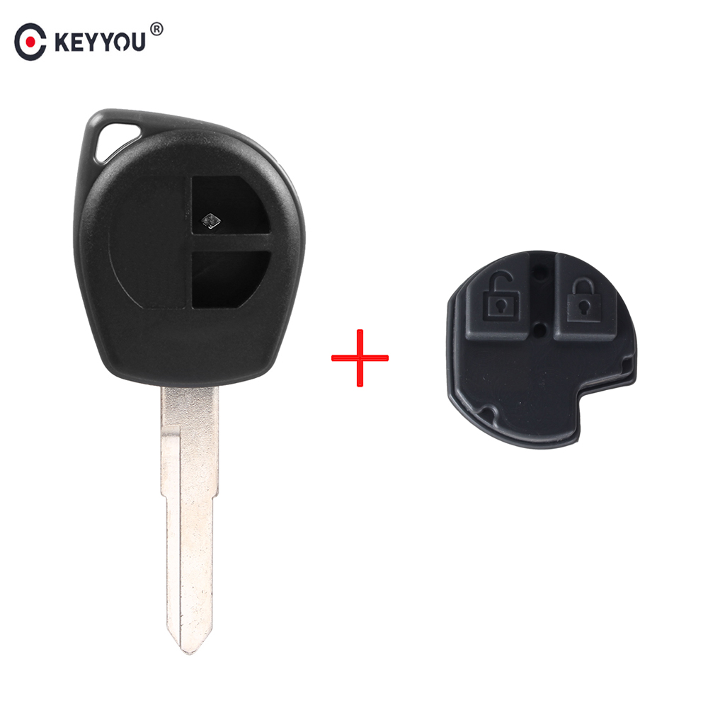 KEYYOU 2 Buttons Remote Car Key Case FOB Shell Fob Housing For Suzuki Grand Vitara SWIFT HU133R Blade Rubber Button Pad