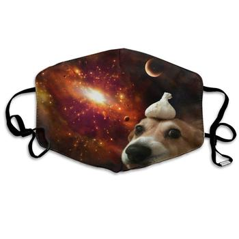 Dog On Space Dust Mask, Reusable Washable Mouth Masks, Adjustable Warm Face Mask Unique Cover Filters Blocking Pollen Pollution woodyknows super defense nasal filters 2nd generation nose masks pollen allergies dust allergy relief no pm2 5 air pollution