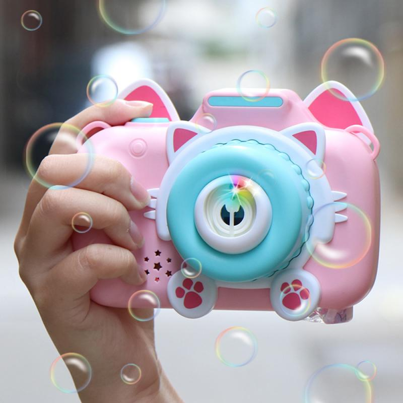 New Bubble Maker Cute Toy Camera Automatic Bubble Machine Soap Water Bubble Blower Music Bath Outdoor Toys