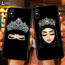 Arabic Hijab Girl Queen Crown Luxury Anti-fall Phone Case For iPhone 11 Pro XS Max X XR 6S 6 7 8 Plus 5S Soft Back Cover nbdruicai ottwn arabic hijab girl queen crown silicone phone case cover for iphone 11 pro xs max 8 7 6 6s plus x 5 5s se xr case