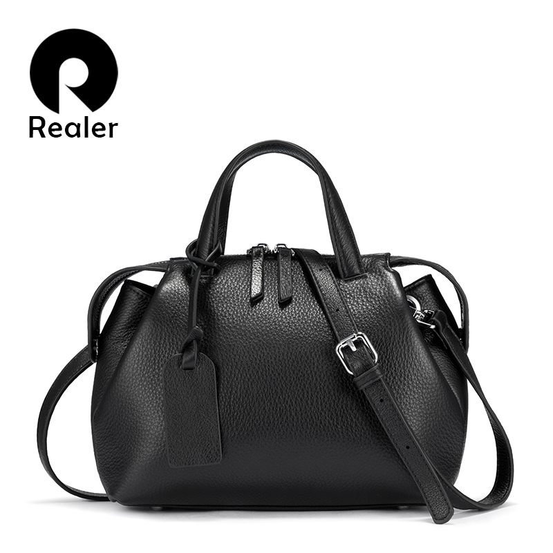 REALER Genuine Leather Handbags Women Bags Shoulder Bag Quality Leather Crossbody Bags Women Totes Bag Designer 2020 Fashion