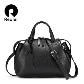 REALER genuine leather Handbags Women Bags Designer 2020 Fashion Shoulder Bag Quality Leather Crossbody Bags Women totes bag