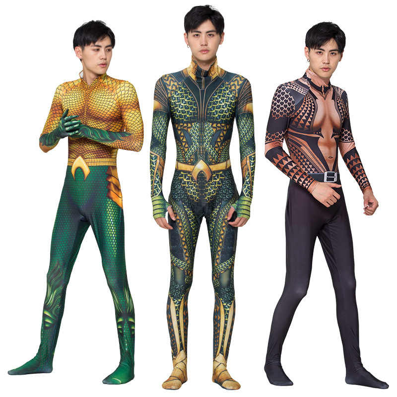 Anime Movie Aquaman Golden Sea King tight suits Cosplay bodysuit Halloween role play costume kids Adult Tights