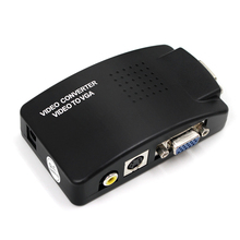 High Resolution TV to PC Composite RCA/S-Video to VGA Video Converter Box HD Video and Audio Adapter Converter Wide Screen цены онлайн