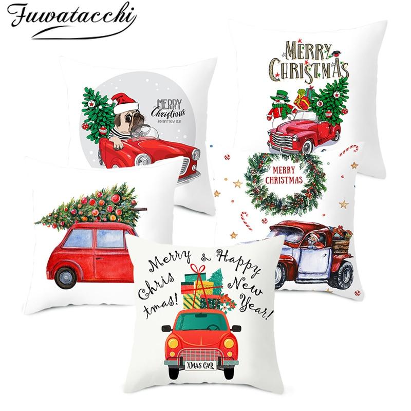 Fuwatacchi feliz natal capa de almofada do carro vermelho cobre poliéster casa sofá cadeira decorativa feliz ano novo travesseiros caso