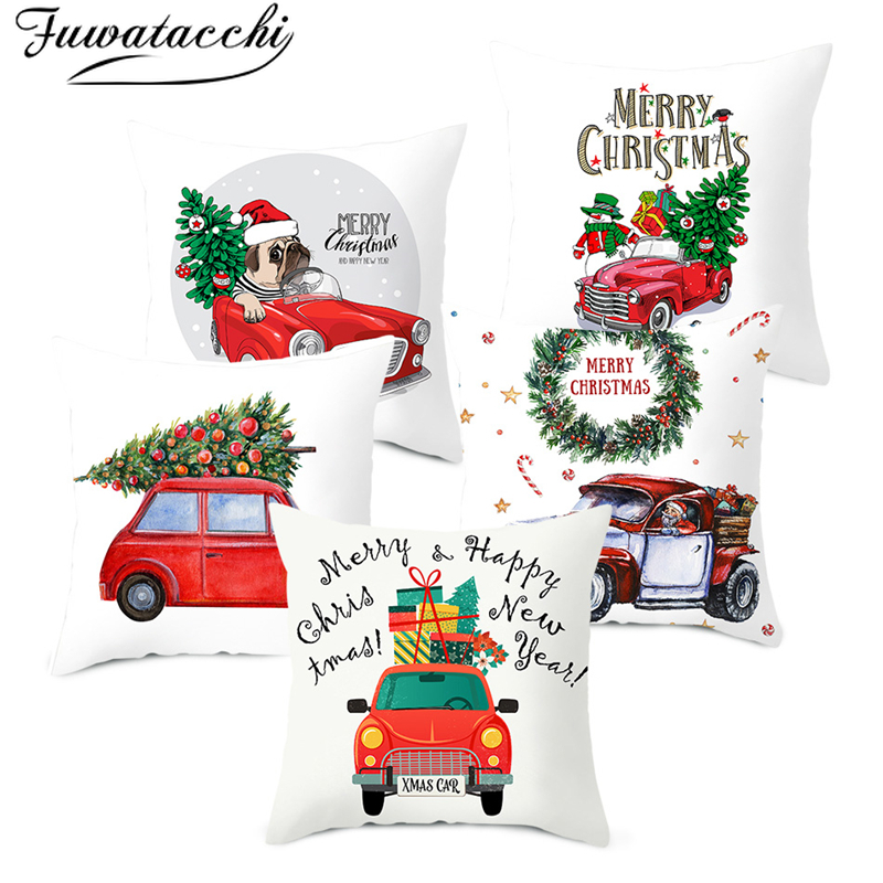 Fuwatacchi Merry Christmas Pillow Cover Red Car Cushion Covers Polyester Home Sofa Chair Decorative Happy New Year Pillows Case