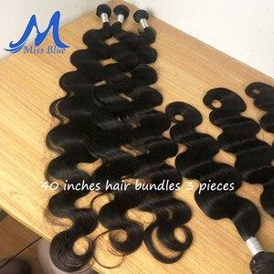 Image 3 - MISSBLUE 30 32 34 36 38 40 дюймов бразильские волосы плетение пряди волнистые 100% человеческие волосы пряди Remy волосы для наращивания топ продаж