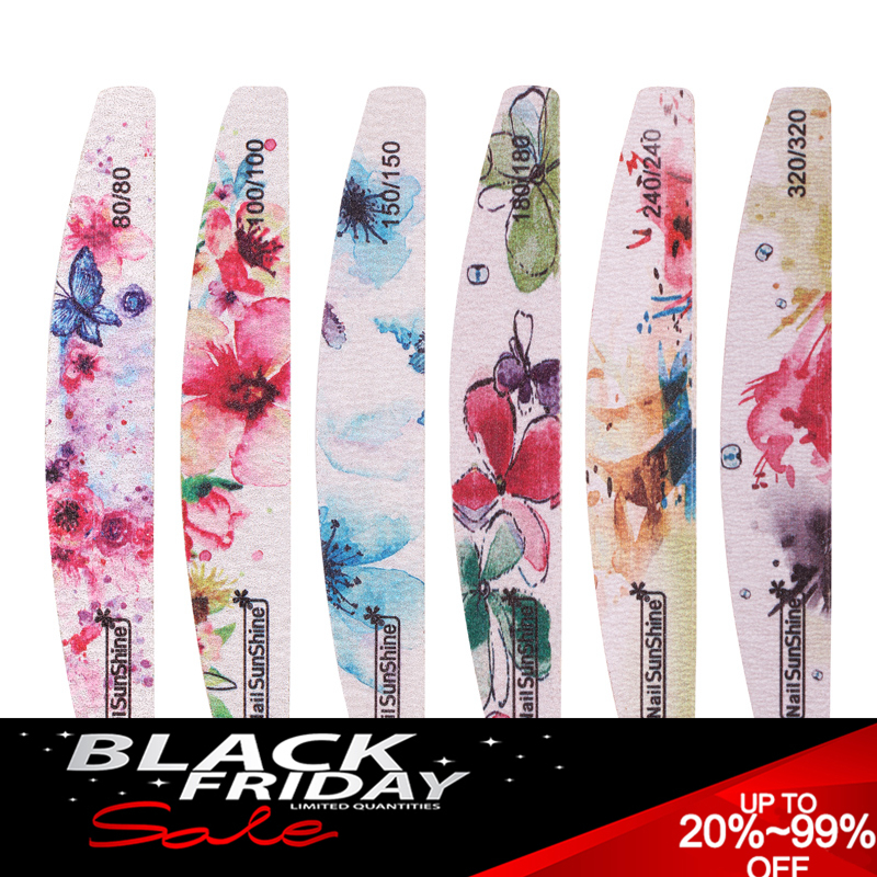 10Pcs Nail Files Colorful Printed Sanding Double Sided Nail Art Manicure Sanding File Buffer Block Plastic Charming Nail Tools