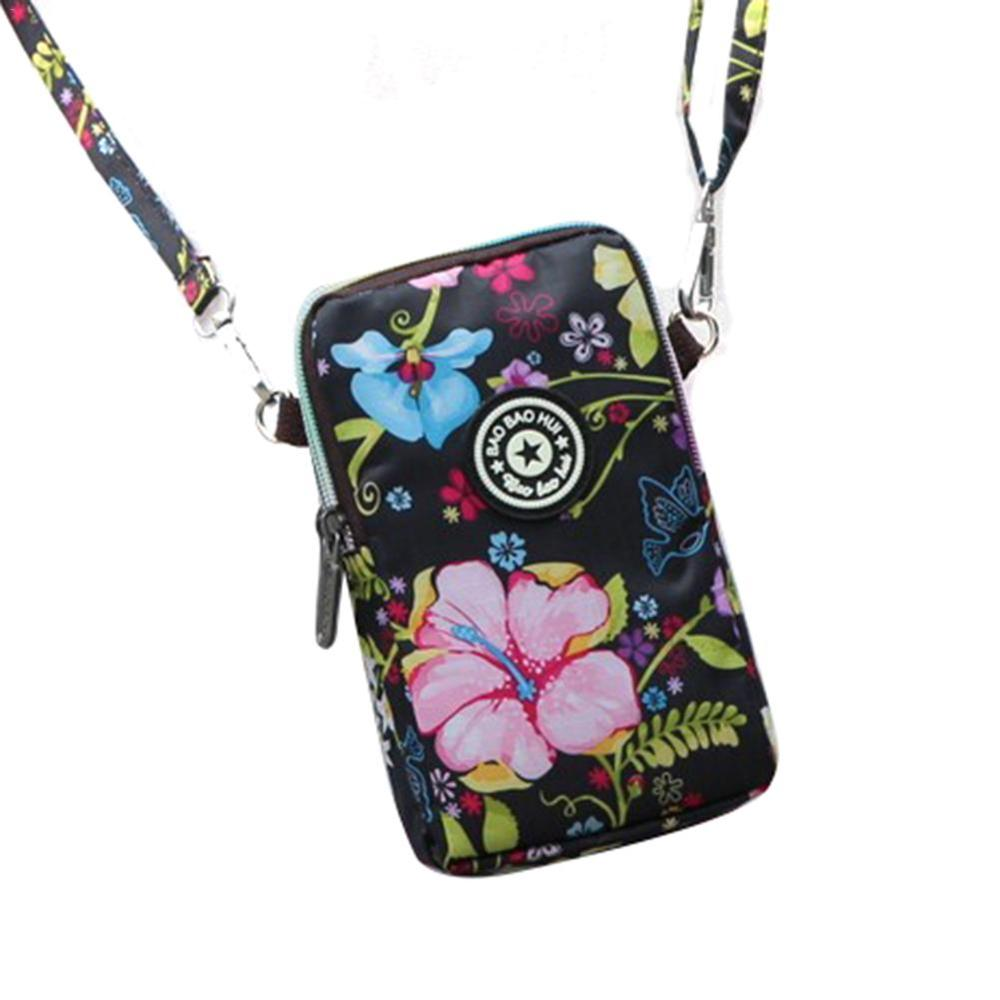 Korean Style Women's Shoulder Bag  Print Mobile Phone Bag Messenger Running Arm Wrist Bags Sports Bag Coin Purse With Zipper
