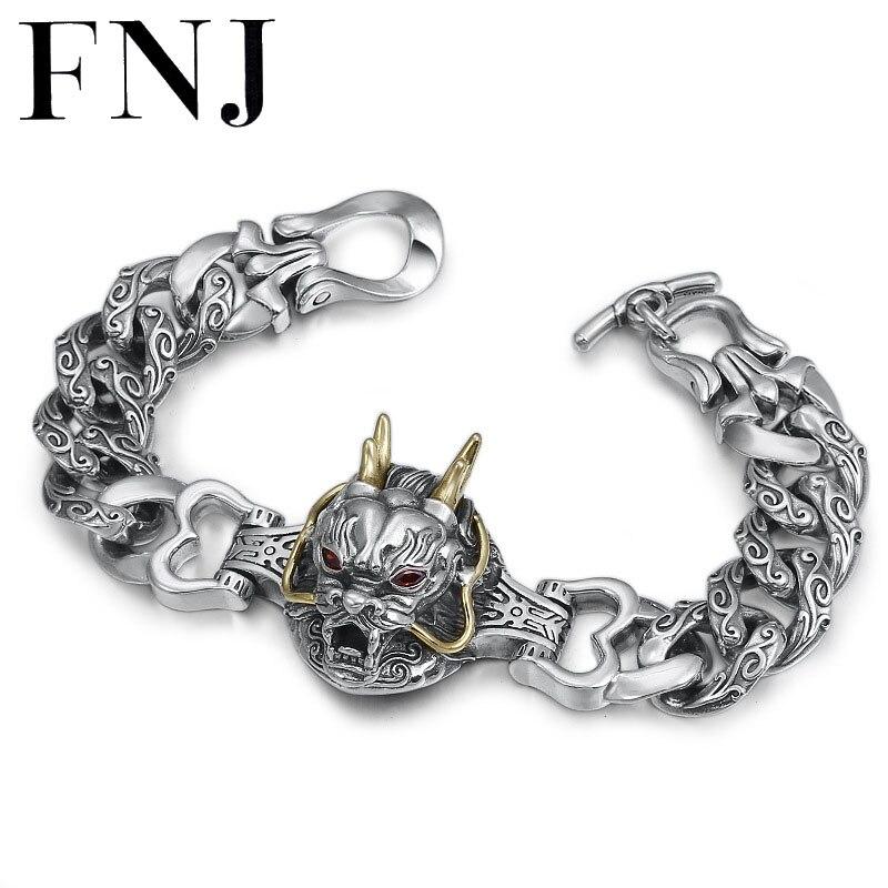 FNJ Punk Animal Dragon Bracelet 925 Silver Big 14mm 20cm Statement Original Pure S925 Thai Silver Bracelets for Men Jewelry|Bracelets & Bangles|   - AliExpress