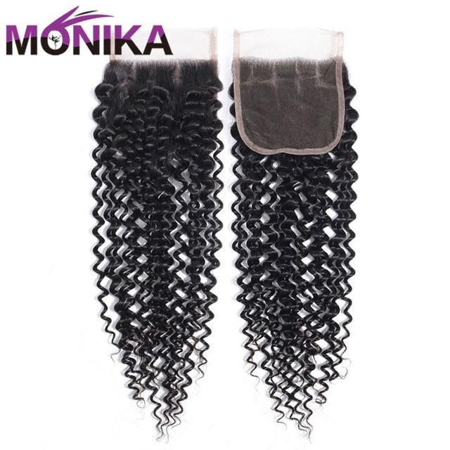 Monika włosy peruwiański zamknięcia perwersyjne kręcone zamknięcie ludzki uzupełnienie splotu włosów Lace Closure 4x4 darmo/średnim/3 część włosy wyplata zamknięcia nie Remy