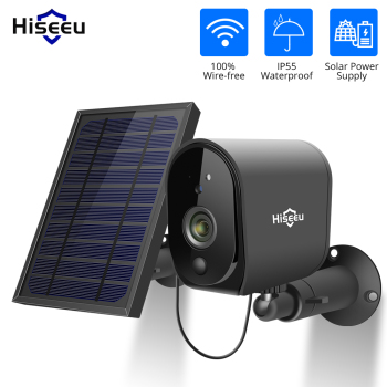 Hiseeu 1080P Solar Panel Rechargeable Battery Wireless IP Camera  Waterproof CCTV Security Camera WIFI two-way audio PIR Dectect 1