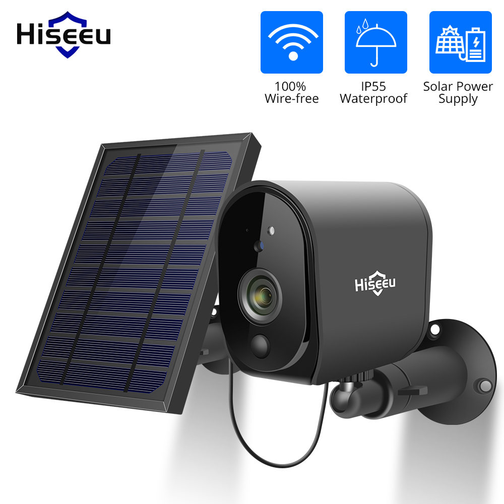 Hiseeu 1080P Solar Panel Rechargeable Battery Wireless IP Camera  Waterproof CCTV Security Camera WIFI Two-way Audio PIR Dectect
