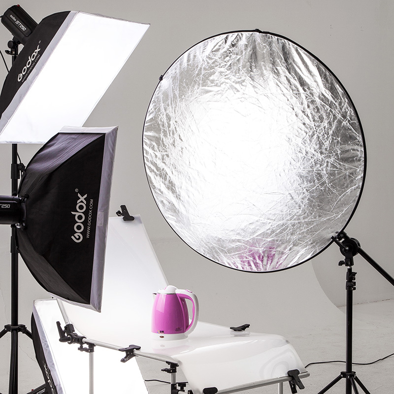 BEIYANG 5 in 1 Portable Collapsible Light Round Photography Reflector 110cm Multi Handheld Photograph Studio Light Reflector
