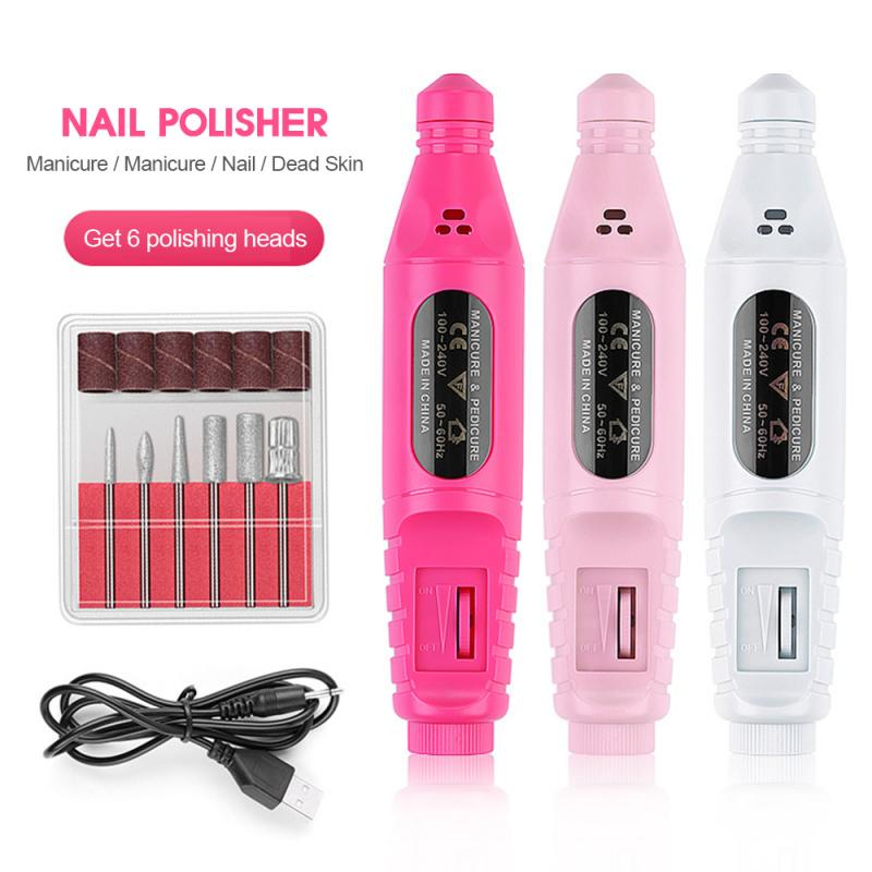 1Set Electric Nail Drill Machine Kit USB Charging Manicure Machine Pedicure 6 Bits Sanding Buffer Nail File Nail Art Pen TSLM1 1
