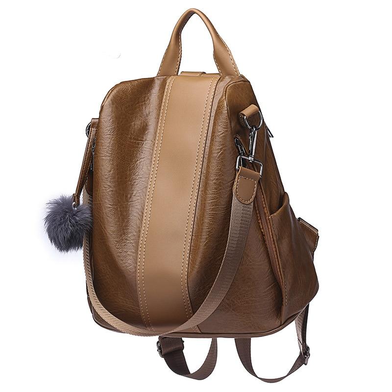 2019 Women Leather Anti theft Backpacks High Quality Vintage Female Shoulder Bag Sac A Dos School 2019 Women Leather Anti-theft Backpacks High Quality Vintage Female Shoulder Bag Sac A Dos School Bags for Girls Bagpack Ladies